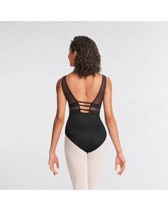 Mirella Applique Mesh Panel Tank Leotard