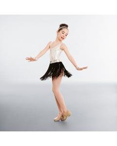 1st Position Sequin Waistband Fringe skirt