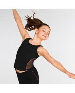 Bloch Girls Empire Line Contrast Piping Detail Open Back Top