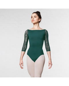 Mirella Wide Neckline 3/4 Sleeve Lace Leotard