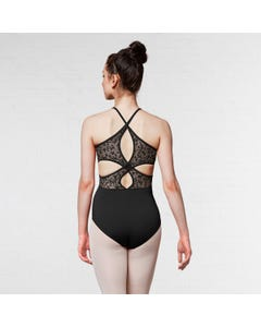 Mirella High Neck Lace Cross Over Back Camisole Leotard