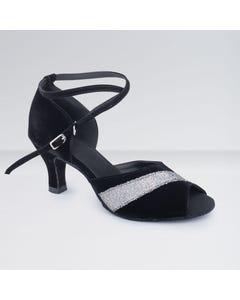 1st Position Black & White Nubuck Buckle Fastening Ballroom Shoes