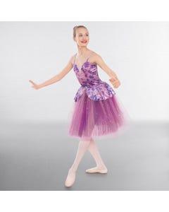 1st Position Floral Velour Romantic Tutu with Glitter Net Skirt