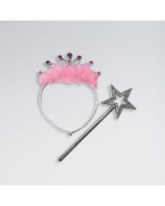 Pink Feather Tiara with Wand