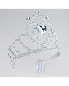 Silver Glitter Tiara with Heart