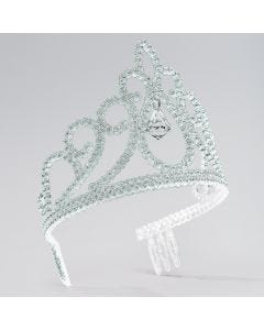 Silver Glitter Tiara with Drop Stone