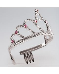 Small Plastic Tiara with Pink Stone