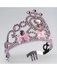 Pink Tiara With Ribbon Bow