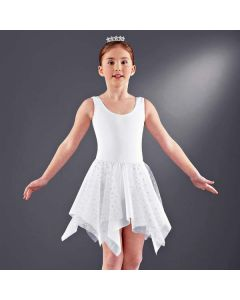 White Hanky Skirt with Silver Stars - Child One Size