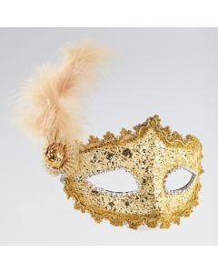 Gold Braided Mask With Side Feather And Stone