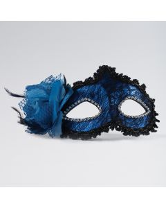 Blue/Black Lace Mask With Side Flower