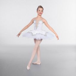1st Position Prestige Silver Trimmed Ballet Bodice with Over Skirt