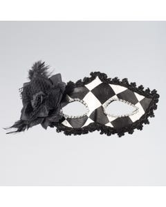 Harlequin Black & White Mask with Side Feather
