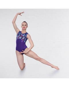 1st Position Fracture Print Keyhole Back Sleeveless Leotard