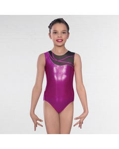 1st Position Kayla Asymmetric Mesh Sleeveless Leotard