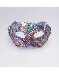 Half Face Mask Reverse Sequin Rainbow and Silver