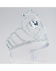 Silver Glitter Tiara with Heart