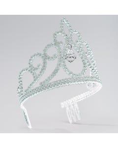 Silver Glitter Tiara with Drop Stone