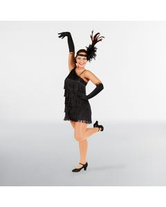 Black Sequin Flapper Dress Adult One Size